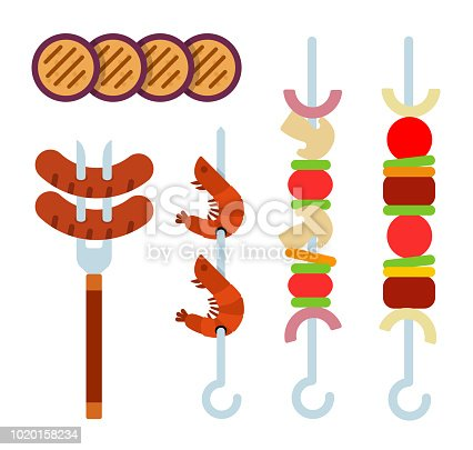 Round pieces of eggplant, vegetables and pieces of meat on a skewer, grilled sausages on a fork for meat, shrimp on a skewer, vegetables on a skewer vector flat material design isolated on white