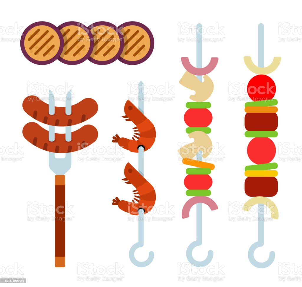 pieces of eggplant pieces of meat grilled sausages shrimp and rh istockphoto com Italian Sausage Clip Art Sausage Patty Clip Art