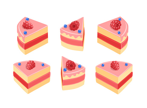Pieces of pink cake set. With raspberries. Red cream. Slice of pie separate. Isometric view vector.