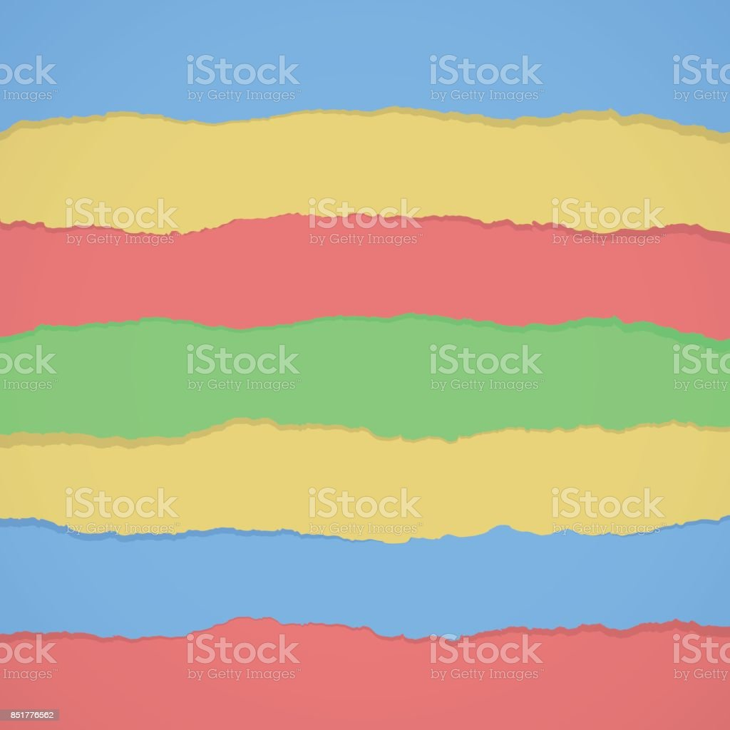 Pieces of torn colorful blank paper are stuck vector art illustration