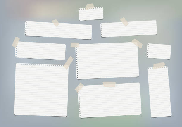 pieces of white lined copybook, notebook sheets for note stuck with sticky tape gray background - lined paper stock illustrations