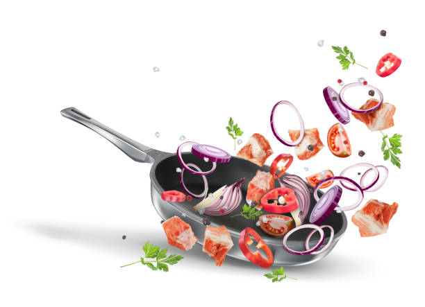ilustrações de stock, clip art, desenhos animados e ícones de pieces pork meat with purple onions and paprika in a pan. the recipe for pork meat. vector dynamic composition isolated on white background - raw steak