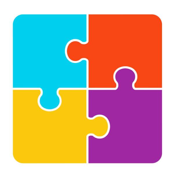 4 sztuki puzzle design - część stock illustrations