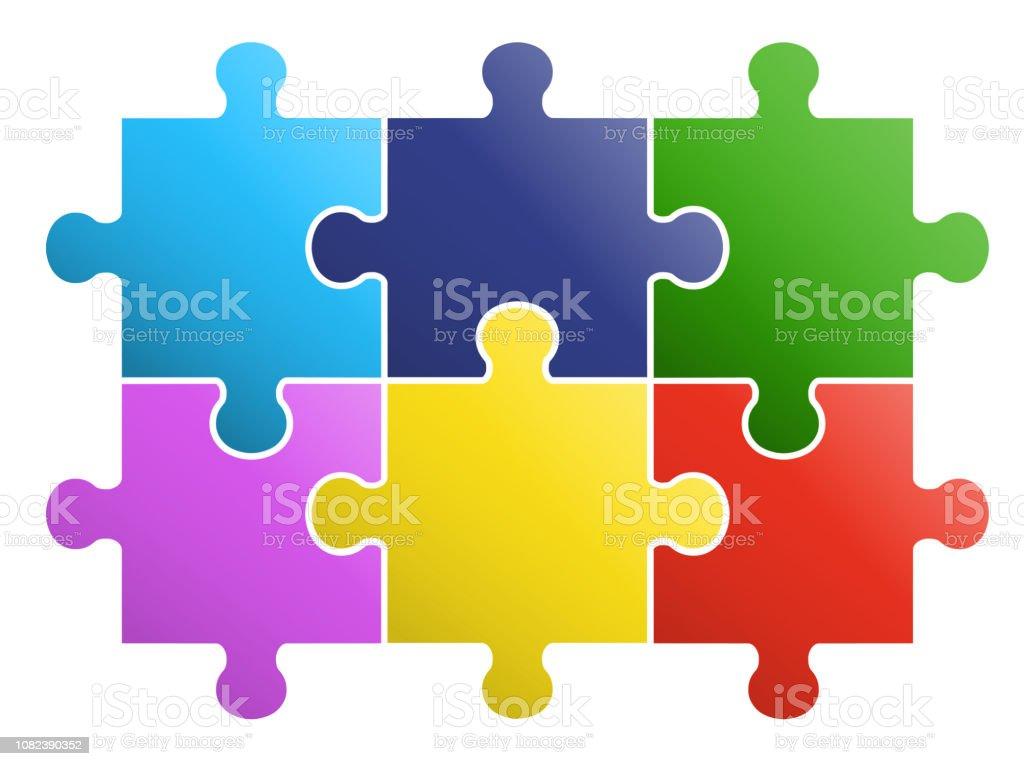 6 pieces Puzzle design royalty-free 6 pieces puzzle design stock illustration - download image now