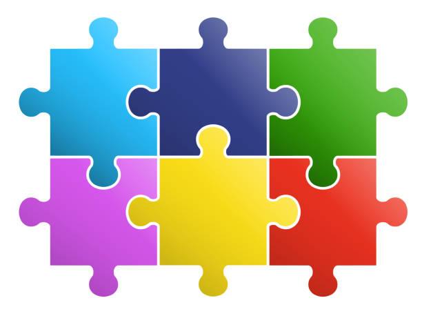 6 stück rätseldesign - puzzle stock-grafiken, -clipart, -cartoons und -symbole