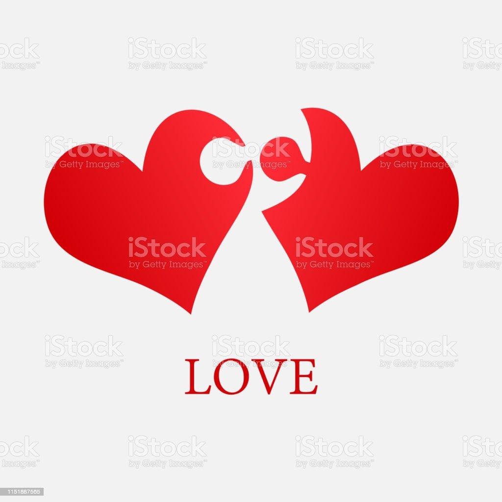 Pieces puzzle of romantic heart. Icon vector puzzle illustration....