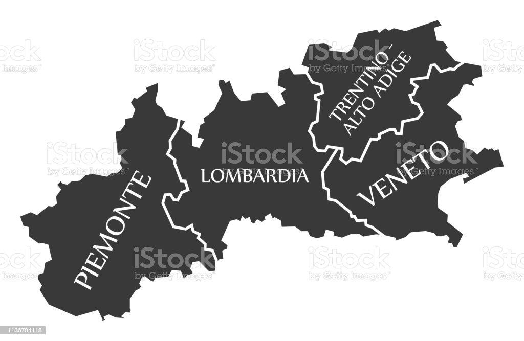 Carte Italie Lombardie.Piemontlombardietrentinhautadigeregion De La Venetie Carte