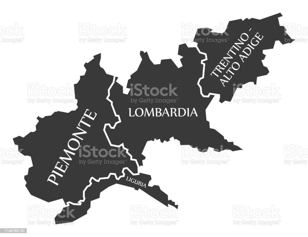 Carte Italie Ligurie.Piemontligurielombardietrentinhautadige Region Carte Italie Vecteurs