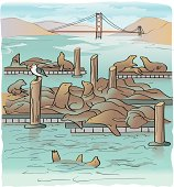 Sketchy rendering of California sea lions on Pier 39 Fisherman's Wharf with Golden Gate Bridge in background. Artwork created from sketch made on location. Color is on its own layer and can be hidden for line art. Flat color and simple blends, easy to edit.