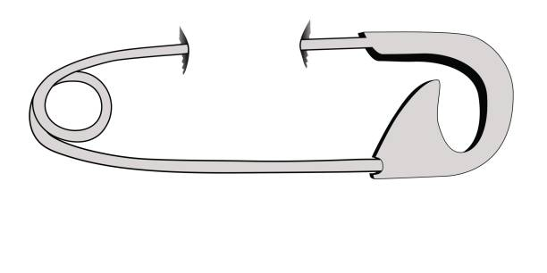 Pierced - safety pin vector art illustration