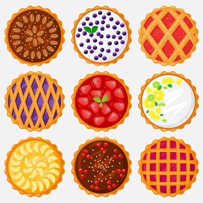 Pies top view. Baking food, delicious apple, blueberry, pecan and tasty cherry pie. Sweet pastry view from above vector illustration set