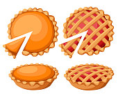 Pies Vector Illustration. Thanksgiving and Holiday Pumpkin Pie. Happy Thanksgiving Day traditional pumpkin pie with whipped cream on the top Web site page and mobile app design vector element