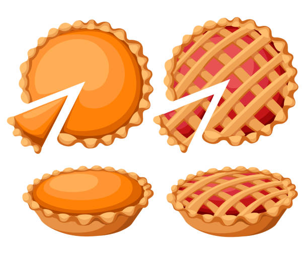 pies vector illustration. thanksgiving and holiday pumpkin pie. happy thanksgiving day traditional pumpkin pie with whipped cream on the top web site page and mobile app design vector element - nadziewany placek stock illustrations