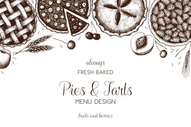 pies_tarts_6 - pie stock illustrations, clip art, cartoons, & icons