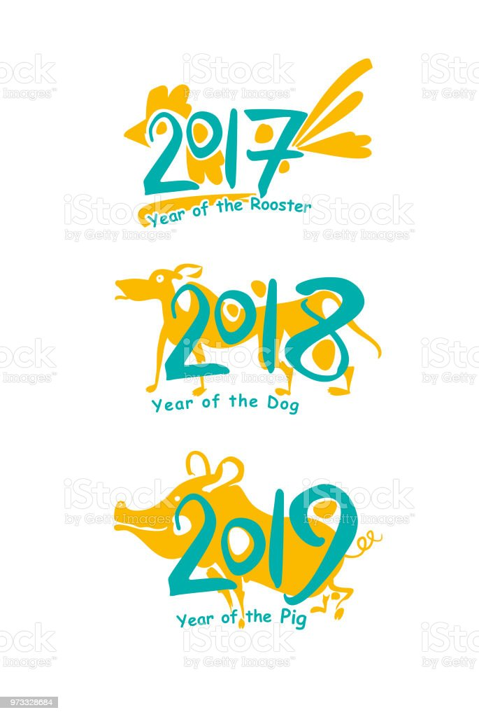 Pig 2019 Dog 2018 Rooster 2017 Flat Two Color Symbols Of The Years