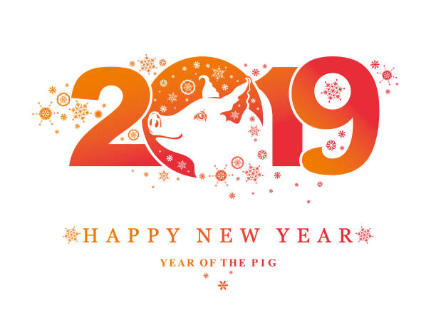 pig 2019. happy new year! year of the pig. - year of the pig stock illustrations, clip art, cartoons, & icons
