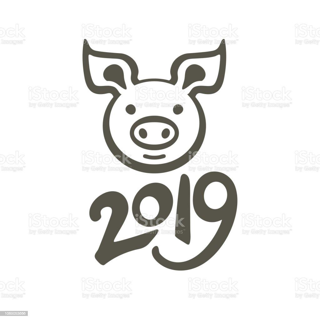 pig 2019 vector template piggy head isolated on white background
