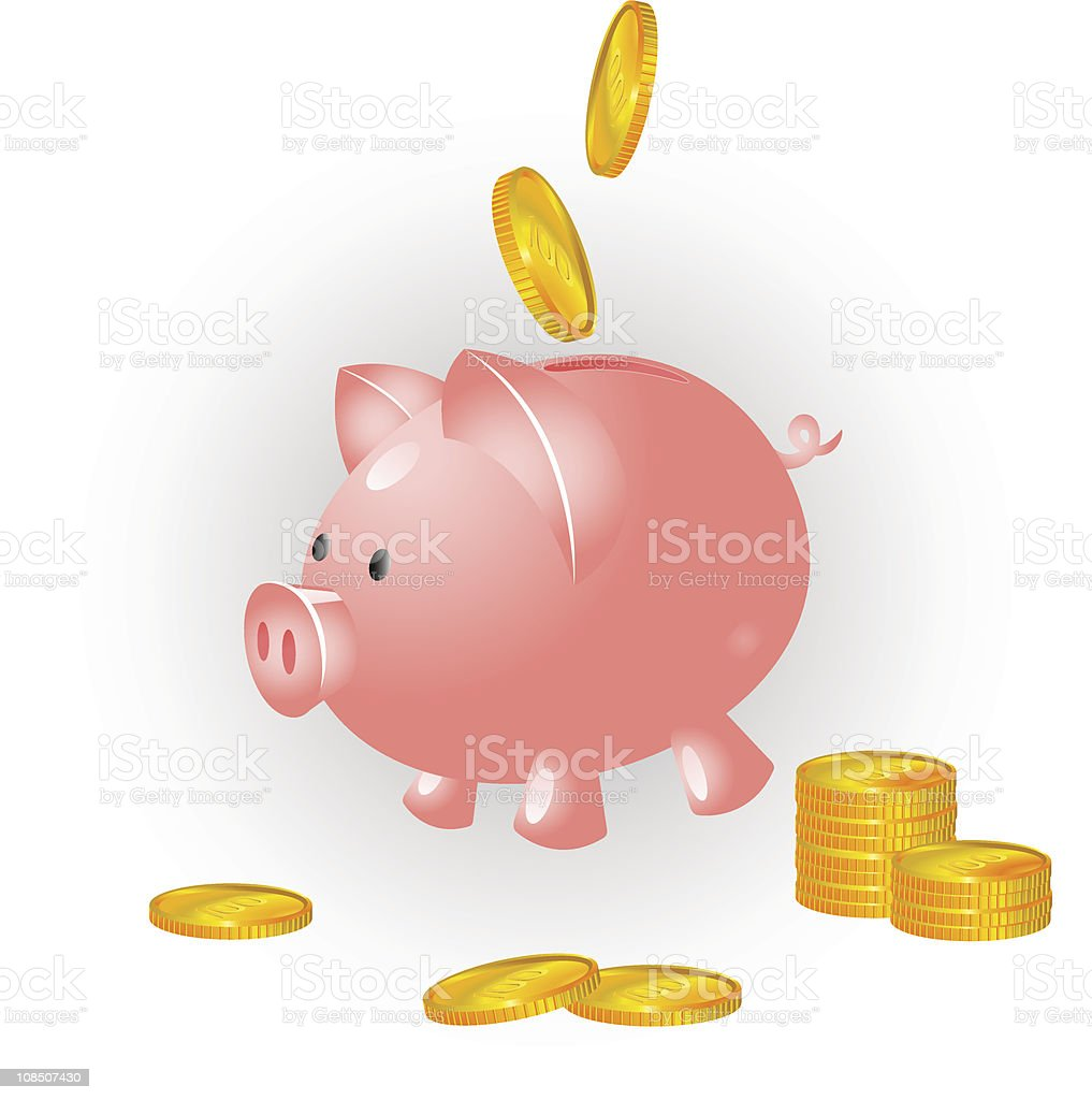 Pig and coins vector art illustration