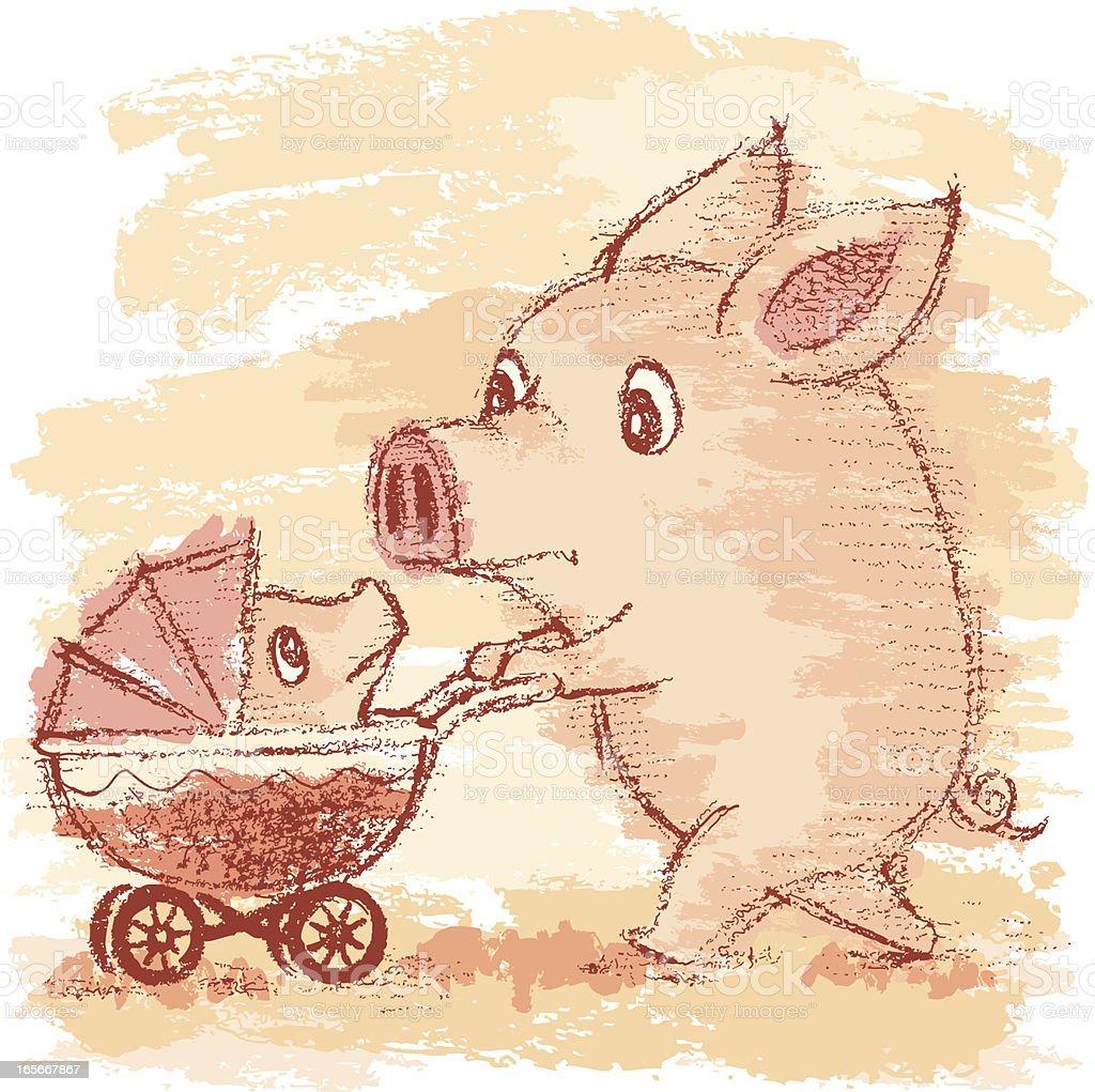 Pig and perambulator vector art illustration