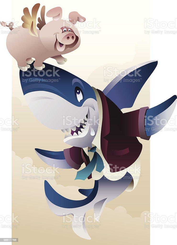 Cerdo y tiburón - arte vectorial de Aire libre libre de derechos