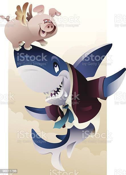 Pig And Shark-vektorgrafik och fler bilder på Bisarr