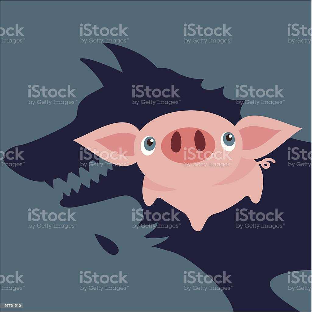 Pig and wolf vector art illustration