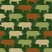 Pig army pattern eamless. Piggy military background. soldiery Pigs ornament. Farm Animal Vector war texture