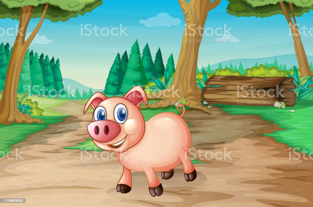 pig at the forest royalty-free pig at the forest stock vector art & more images of illustration