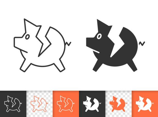 stockillustraties, clipart, cartoons en iconen met pig bank gebroken eenvoudige zwarte lijn vector pictogram - faillissement