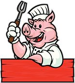 This BBQ pig chef sign was created with all separate elements and a separate black and white zip file.