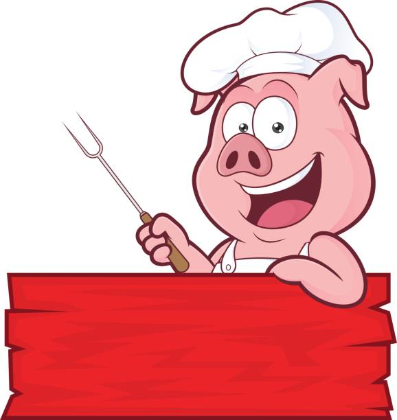 Pig BBQ chef Clipart picture of a pig BBQ chef cartoon character cooking clipart stock illustrations