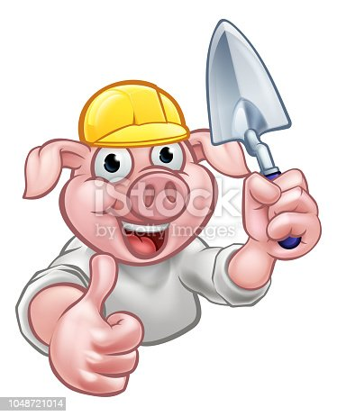 istock Pig Builder Cartoon Character 1048721014