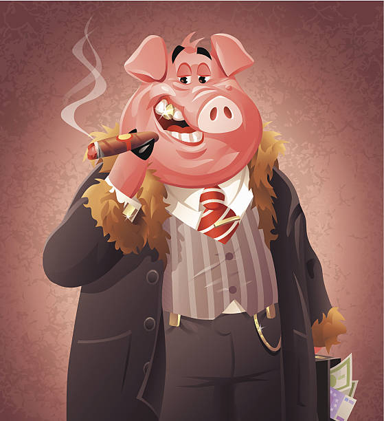 Pig Business A rich pig with a cigar and a briefcase full of money. EPS 10 (image contains transparencies), fully editable, grouped and labeled in layers. millionnaire stock illustrations