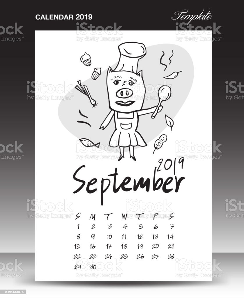 Calendario Dibujo Septiembre.Ilustracion De Calendario De Cerdo Para 2019 Inscripcion