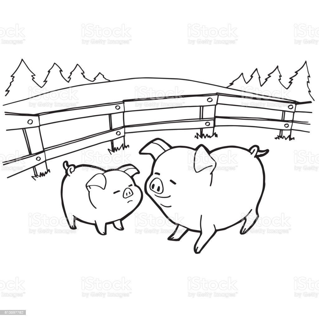 Ilustración de Páginas Para Colorear De Cerdo De La Historieta Del ...