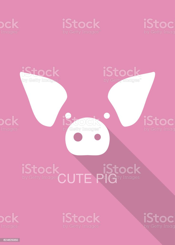pig cartoon face, flat icon design vector art illustration