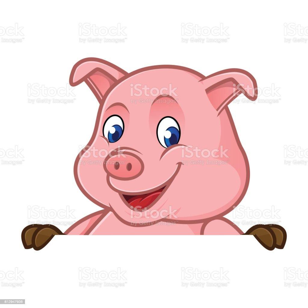 Schwein Cartoon Holding Leere Schild Stock Vektor Art und mehr ...