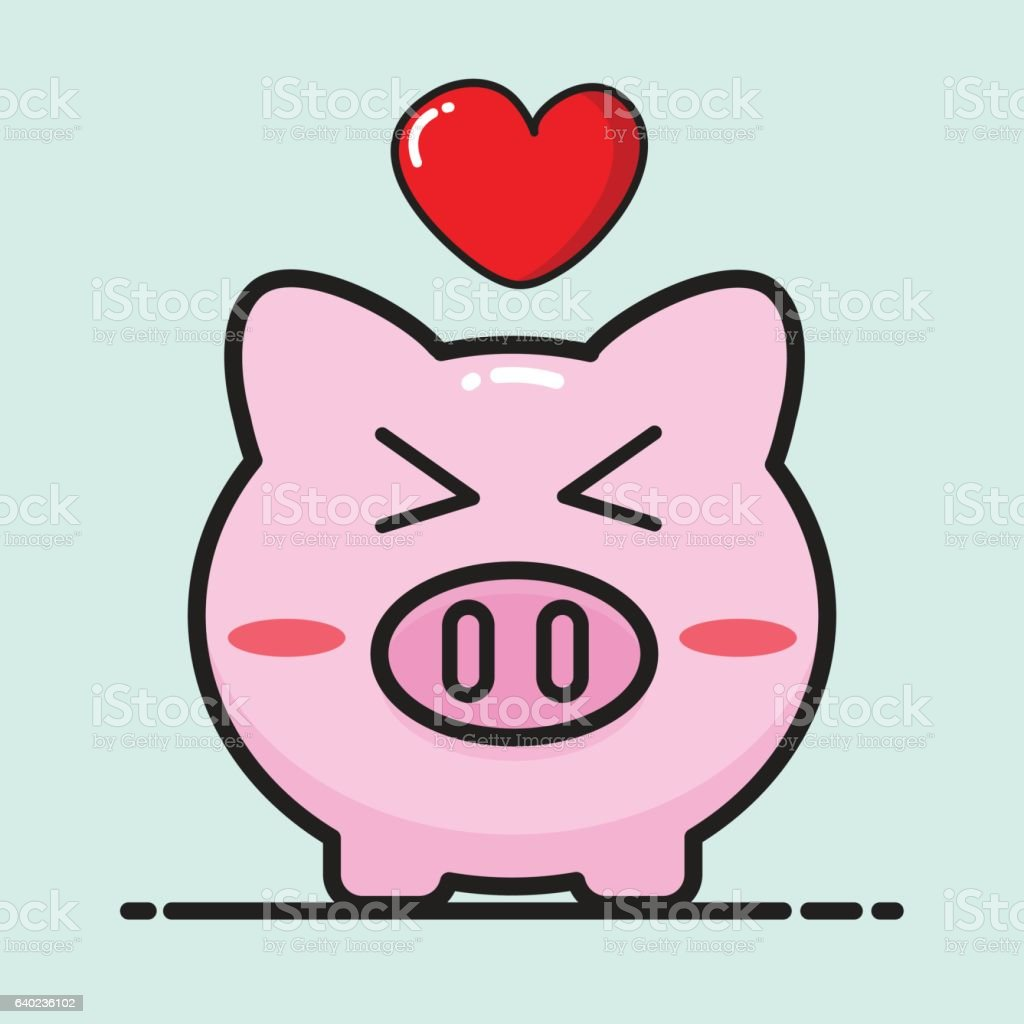 pig cartoon vector design for valentine day イラストレーションの