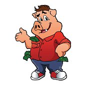 pig character with money