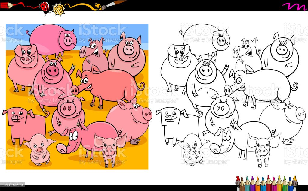 pig characters group coloring book vector art illustration