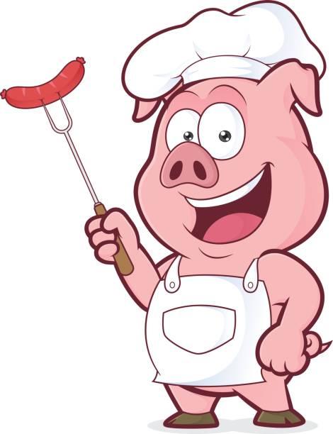 Schwein-Chef hält eine Wurst auf Gabel – Vektorgrafik
