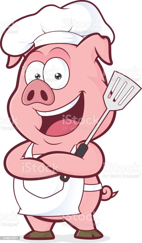 Pig chef holding a spatula vector art illustration
