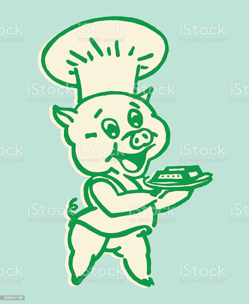 豚シェフの料理を提供する イラストレーションのベクターアート素材や
