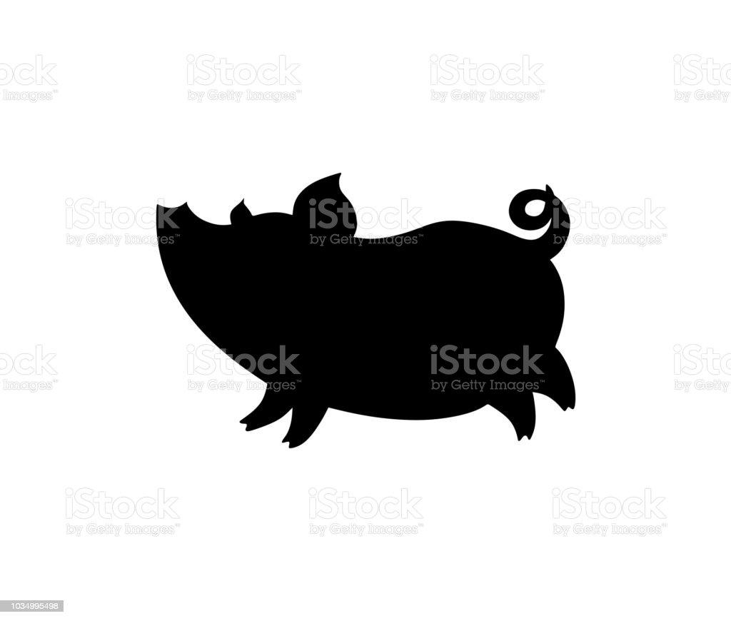 豚コミカルなシルエット アイコンのベクターアート素材や画像を多数ご