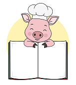 Pig cook with blank book for text