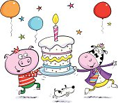 A cool pig and cow carrying a birthday cake.