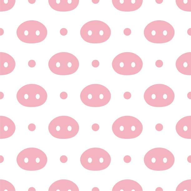 ilustrações de stock, clip art, desenhos animados e ícones de pig cute seamless pattern - meat texture