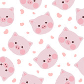 cute pig seamless pattern background, vector illustration
