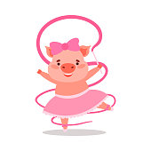 Hand drawn cartoon funny cute happy pig animal character dancing and playing with pink ribbon over white background vector illustration. Happy children books illustrations concept