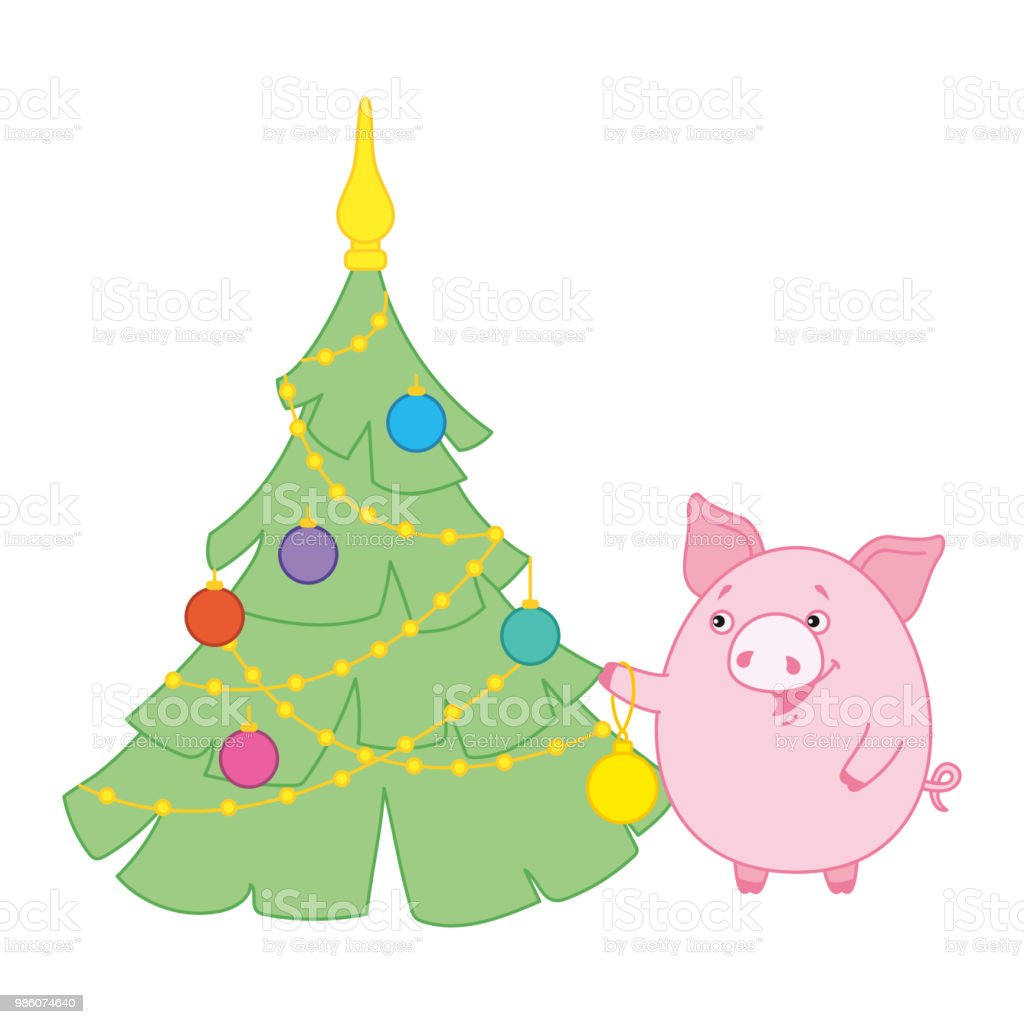 Pig Decorated Christmas Tree Toys Symbol Of The New Year In The